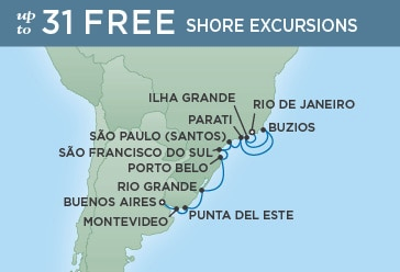 12 Night Sweet Caipirinhas & Fine Malbecs - Rio de Janeiro to Buenos AiresJanuary 20th, 2019Seven Seas Explorer®Exclusive amenity: $500 spa or onboard spending money per Suite