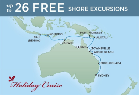 16 Night Grand Aussie Adventure - Sydney to Bali (Benoa)December 15, 2018Seven Seas Mariner®Exclusive amenity: $500 spa or onboard spending money per Suite