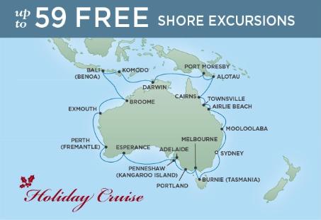 36 Night Circumnavigation of Australia - Sydney to SydneyDecember 15, 2018Seven Seas Mariner®Exclusive amenity: $500 spa or onboard spending money per Suite