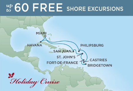 12 Night Holidays & Havana - Miami to MiamiDecember 16, 2018Seven Seas Voyager®Exclusive amenity: $400 spa or onboard spending money per Suite