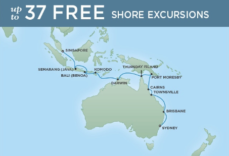 20 Night Cruising Down Under - Sydney to SingaporeJanuary 20, 2019Seven Seas Mariner®Exclusive amenity: $500 spa or onboard spending money per Suite