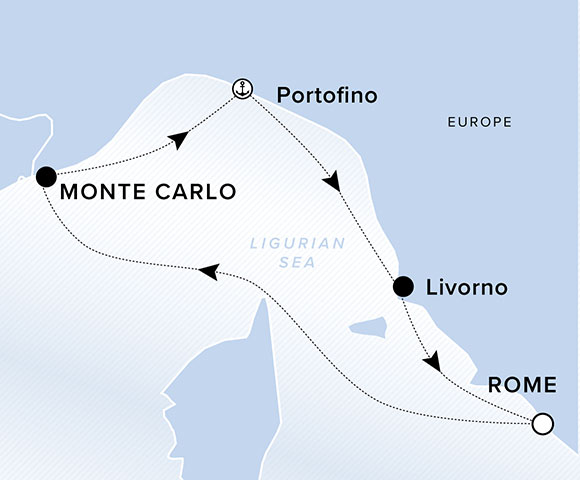 Monaco Grand Prix - Rome (Civitavecchia) RoundtripMay 21, 20208-NightsFormula One racing in the heart of a storied principality begins this voyage on an exciting note. En route to Rome, delight in the timeless charms of the Italian Riviera, including the picturesque villages of the Cinque Terre.