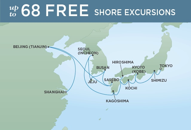 18 Night Way of the Emperors - Shanghai to TokyoMarch 28, 2019Seven Seas Mariner®Exclusive amenity: $500 spa or onboard spending money per Suite