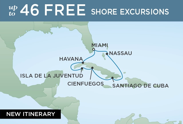 10 Night Cuban Immersion - Miami to MianiMarch 12, 2019Seven Seas Voyager®Exclusive amenity: $400 spa or onboard spending money per Suite