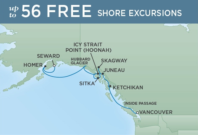 10 Night Frontier Adventure - Vancouver to SewardMay 26, 2019Seven Seas Mariner®Exclusive amenity: $500 spa or onboard spending money per Suite