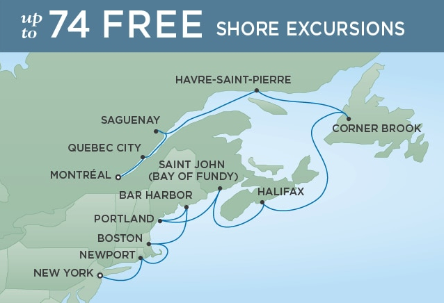 12 Night Colors of the Fall - Montreal to New YorkApril 18, 2019Seven Seas Explorer®Exclusive amenity: $400 spa or onboard spending money per Suite