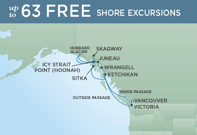 Roundtrip Vancouver, British Columbia - July 13, 2019 | 11 NightsSeven Seas Mariner®$1500 SBC per suite