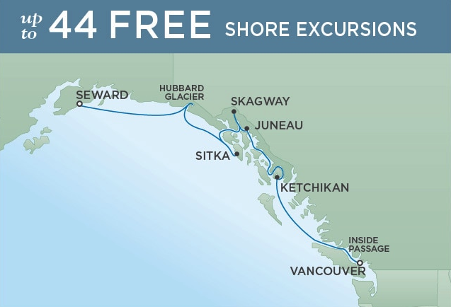 Vancouver to Seward - August 07, 2019 | 7 NightsSeven Seas Mariner®$1100 SBC per suite