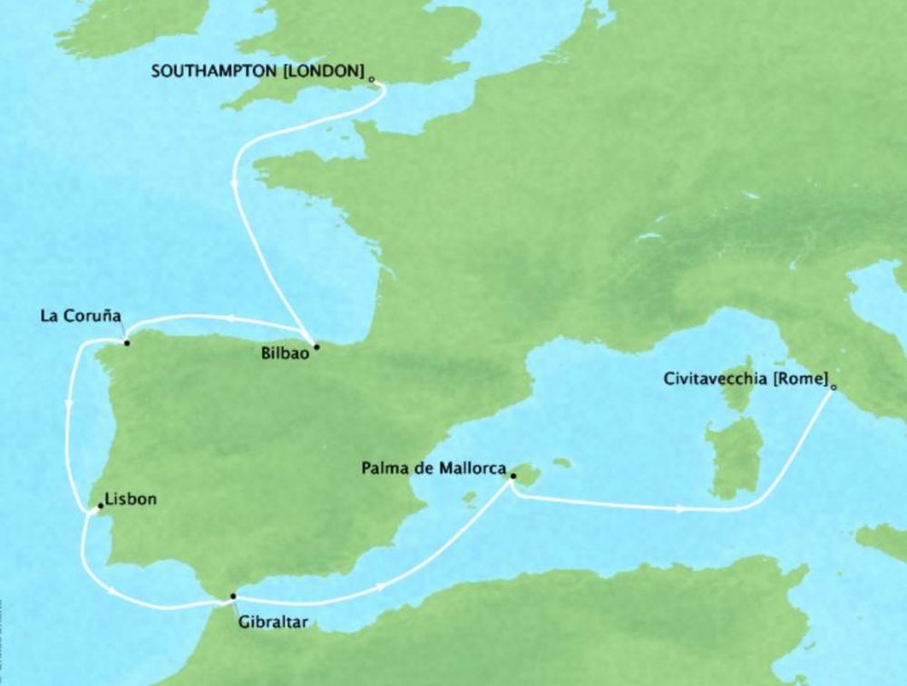 Iberian PeninsulaCruise - 11 DaysDates: 15 May 2019 - 25 May 2019Southampton, United Kingdom to Civitavecchia, ItalyVirtuoso Voyages benefit