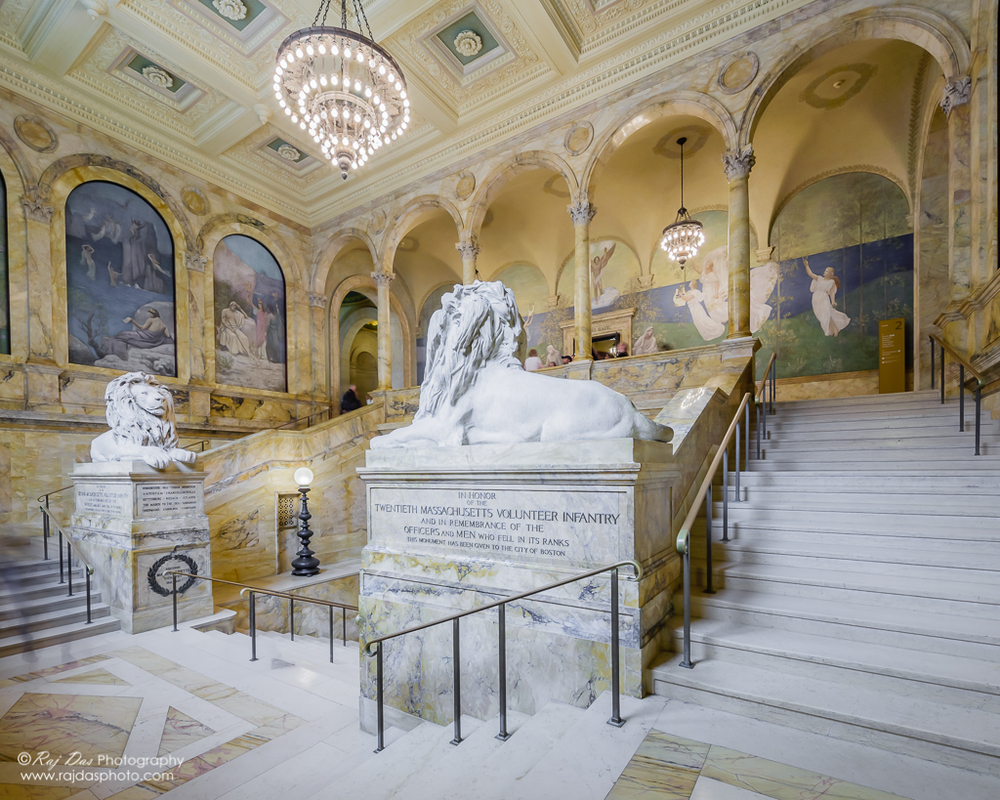 Another view of the marble main staircase and the lions. The lions are a memorial to the 2nd and 20th Massachusetts Regiments of the Civil War.