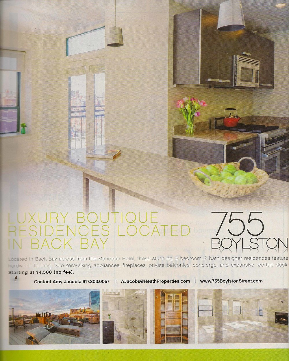 Scan of full page advertisement from Improper Bostonian, which includes the main image at the top and a few other images from the shoot at the bottom.