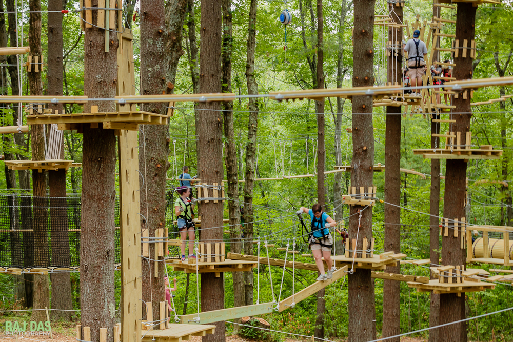 Both kids and adults can find ropes and zip-line trails to suit their difficulty levels