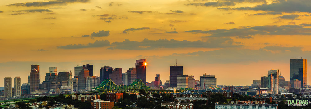 Tobin Bridge and skyline at sunset, Boston