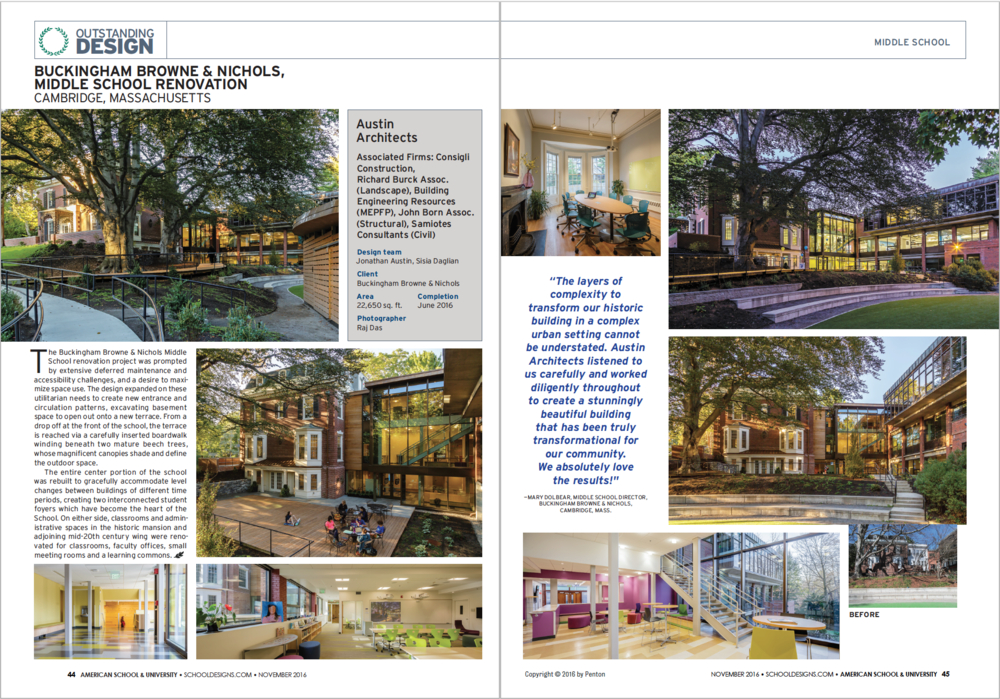 Pages #44 and #45 of the AS&U Nov 2016 issue showcasing the BB&N Middle School project