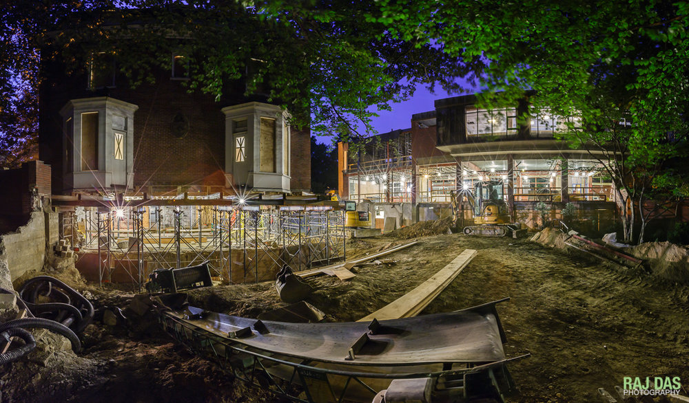 Panorama of construction site in Aug 2015 shows original building raised from its foundations.