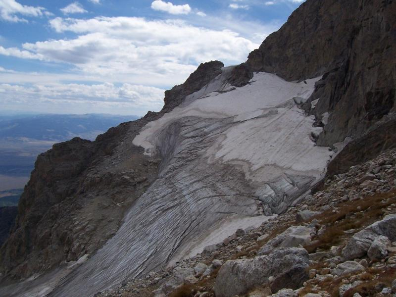 Middle Teton Glacier from the Lower Saddle, blue glacial ice and crevasses showing. Photo courtesy NPS.
