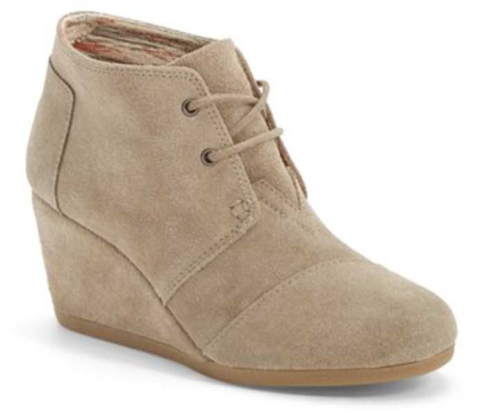 Tom's Desert Wedge Booties   ($89)