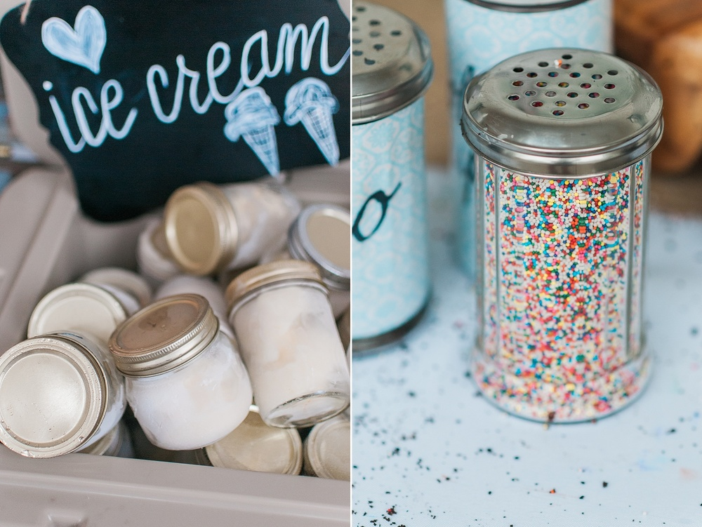Adorable Ice Cream Bar at Outdoor Wedding