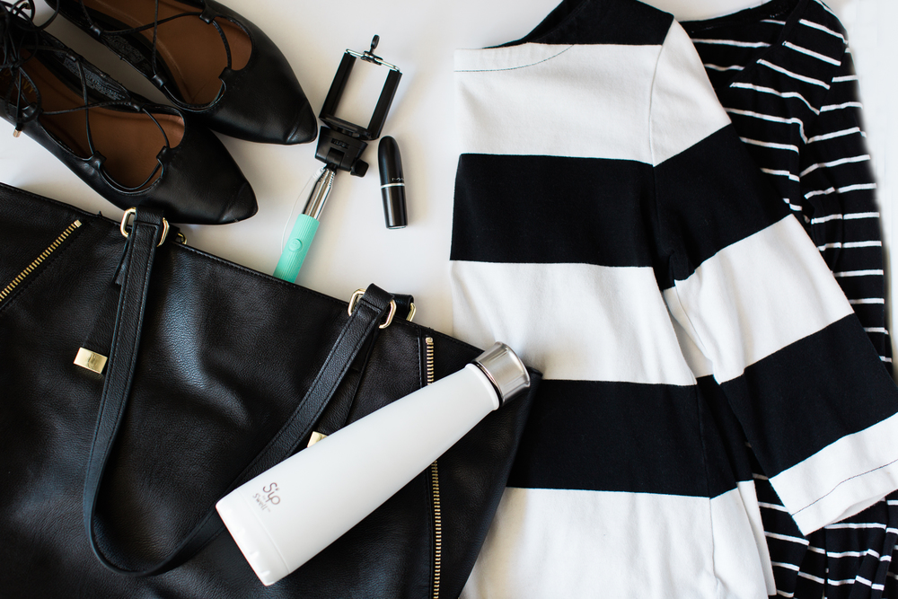 "Flats: Old Navy (Similar); Purse: Banana Republic (Similar and similar); Water Bottle: Swell (Same); Selfie Stick: Target (Similar...this one is so cute); Lipstick: Mac (Same...color is ""Twig""); Striped Top One: Old Navy (Similar); Striped Top Two: BP (Similar)"