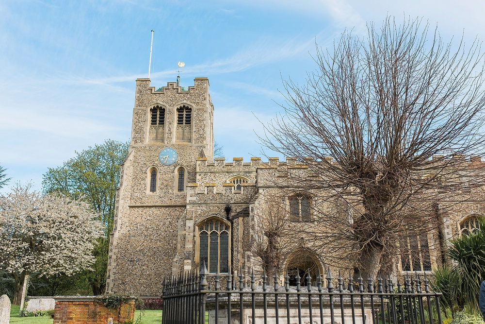This is the Parish Church of St. Peter ad Vincula in Coggeshall, Essex. This is a small town where John Owen for a number of years before the English Civil War.