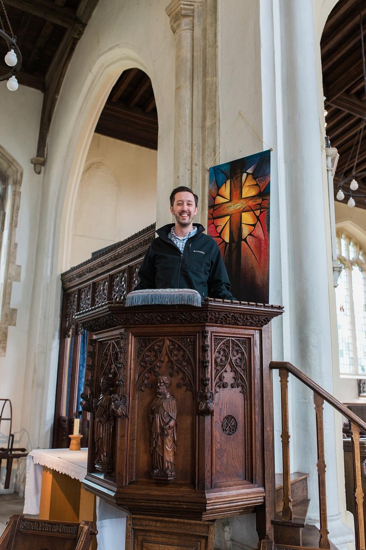 Alex in Owen's pulpit!