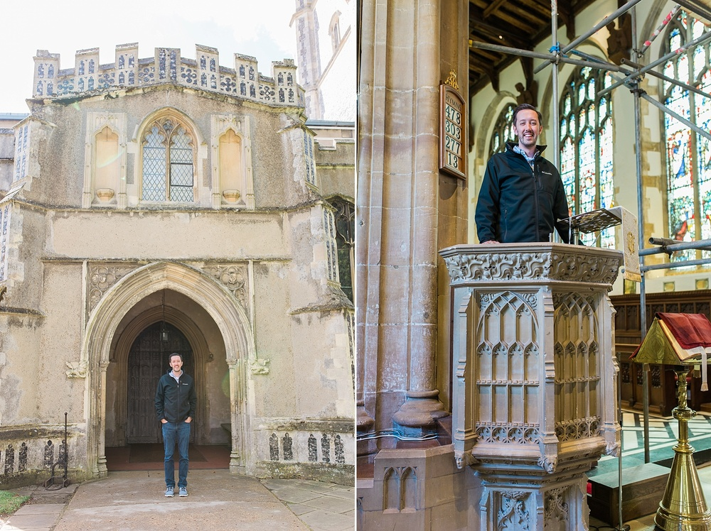 Left: This is just outside John Roger's church. There are famous accounts of John Rogers actually preaching out of that window just above Alex's head. You wouldn't know from this picture, but Alex is facing a town square where over a thousand people would've gathered to hear Rogers preach. Right: Alex in Roger's pulpit.