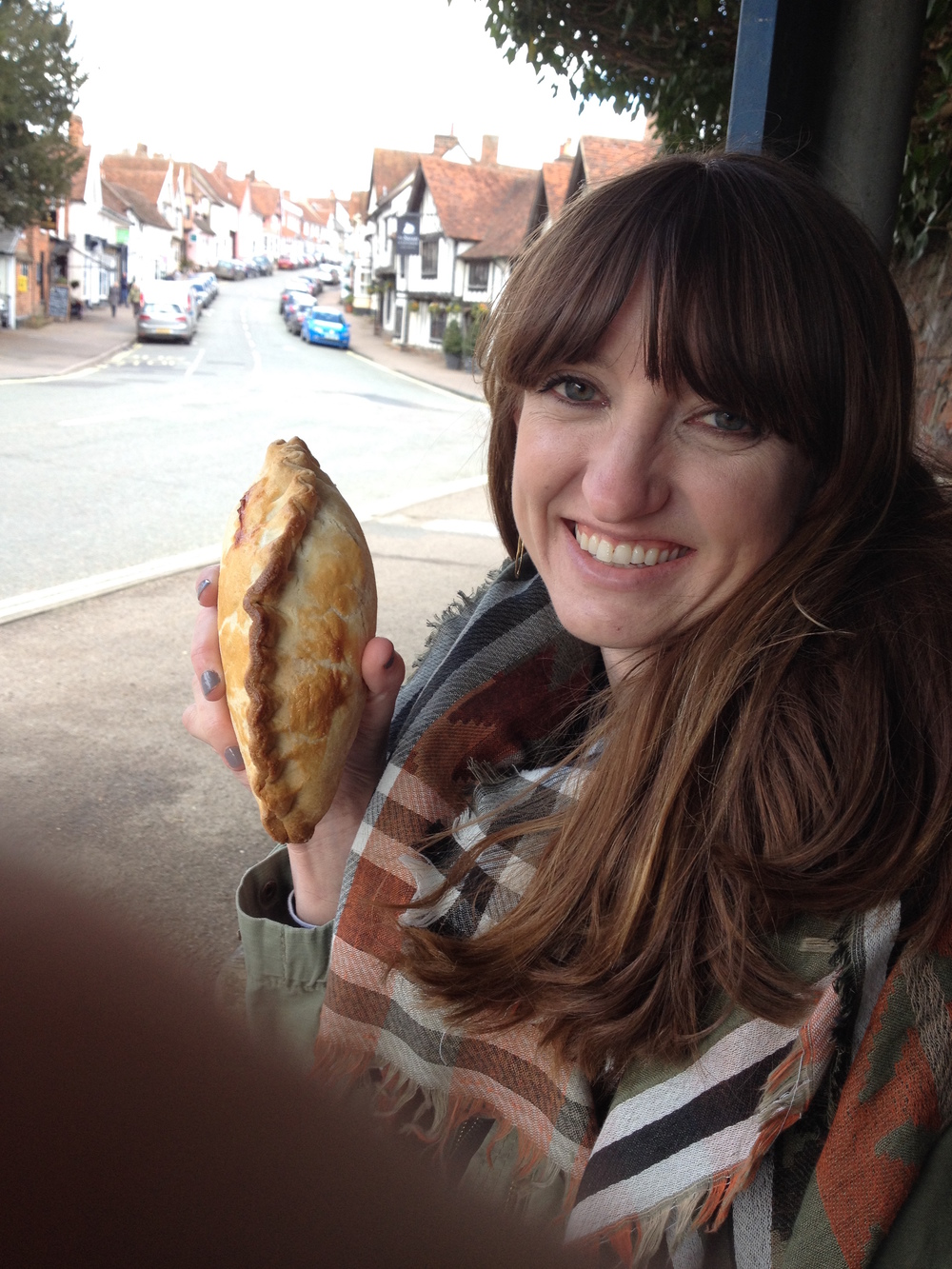 We stopped in Lavenham and had pasties from a butcher (ignore Alex's thumb in this pic ;)). My family loves pasties and so I was excited to have one in England...this picture is for you Dad!! :)