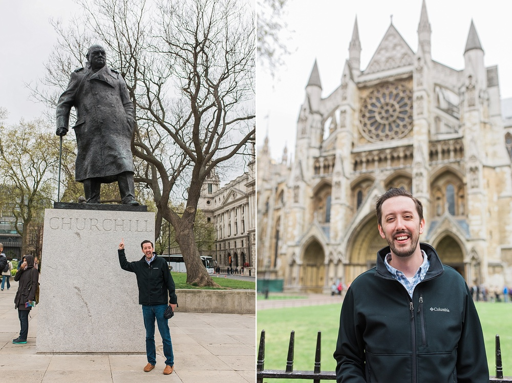Left:Alex recently read a biography on Winston Churchill and now he's obsessed with him so he just HAD to get a picture in front of the statue! :) Right: Alex outside of Westminster Abbey! Alex got to tour it while I relaxed at a coffee shop (I had already toured it when I studied abroad)!