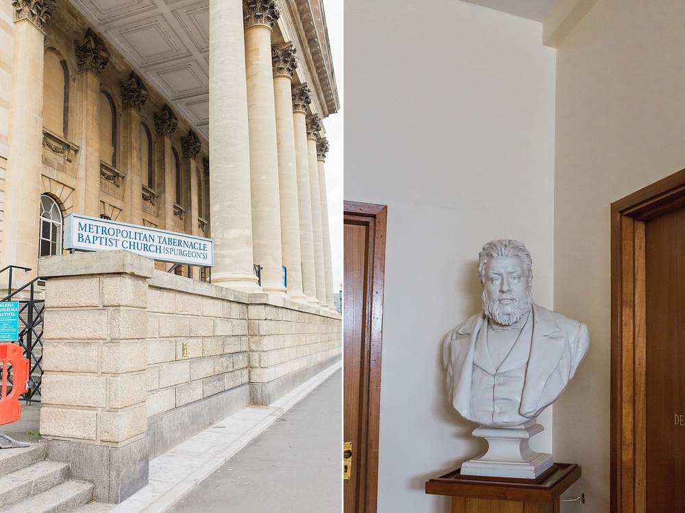 A very sweet woman actually let us come into the building, though it was closed to take a brief look around. This bust of Spurgeon greeted us in the side room where we entered.