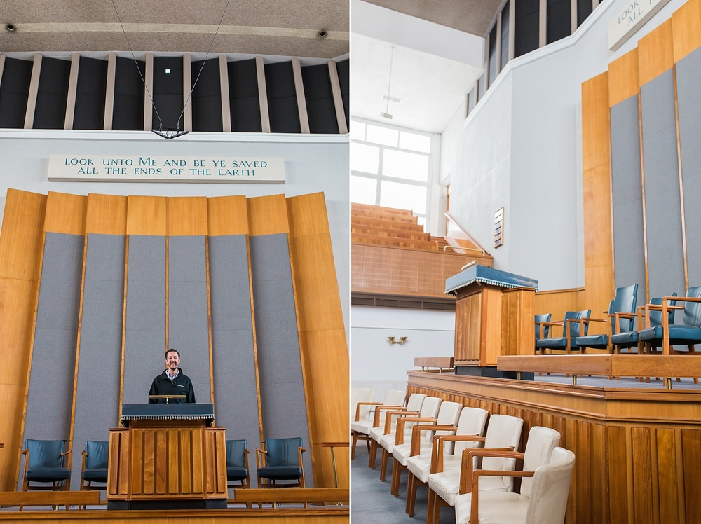 Alex in Dr. Peter Masters' pulpit. Masters is the current pastor of the Metropolitan Tabernacle and deliberately continues in a Spurgeonic legacy of reformed preaching and evangelism. When he first came in 1970, the church had been whittled down to about 30 people. They now run roughly 1,000 on a Sunday morning!