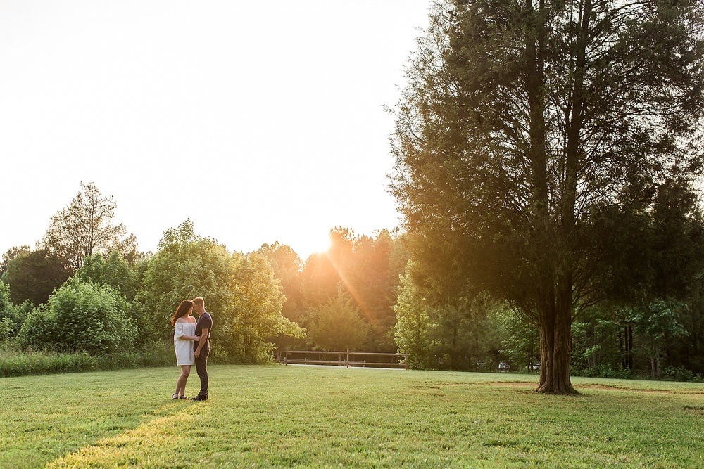 Golden Hour Sunset Engagement Picture NC