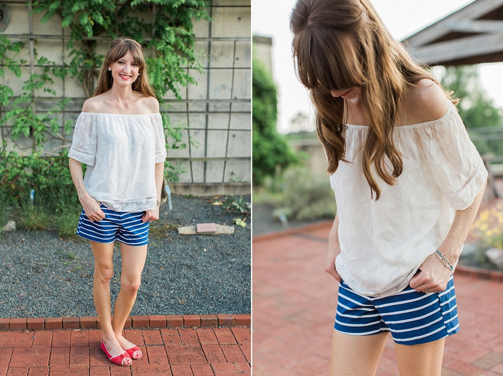 "TOP: Forever 21 (similar   here   and   here  ); SHORTS:   Old Navy  ( Also love   these   and   these  ); SHOES: Madden Girl (similar   here   and also LOVE   these  ); EARRINGS:   Charter Club  ; BRACELET: Entourage (similar   here  ); LIPS:   Revlon   in ""Wine with Everything""; STRAW HAT (Picture further below):   Forever 21   (also love   this one  !)"