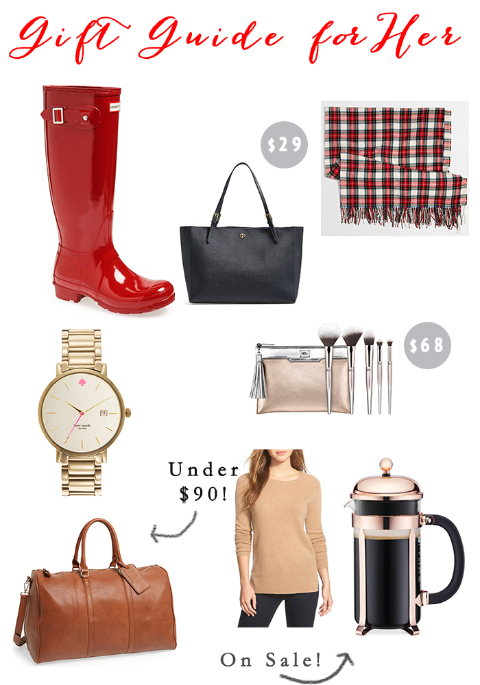 Rain boots  //  Purse  //  Scarf  //  Watch  //  Brushes  //  Weekender  //  Sweater  //  French Press
