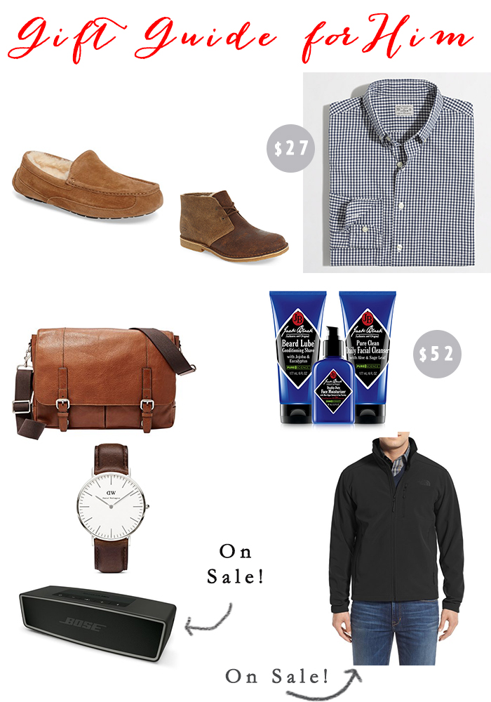 Slippers  //  Boots  //  Button down shirt  //  Messenger bag  //  Shaving set  //  Watch  //  Bose speaker  //  Jacket