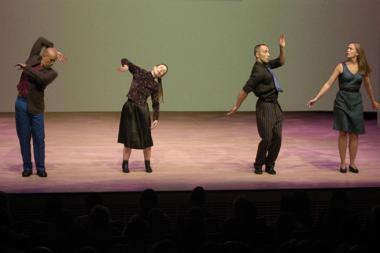Turtle Dreams (Waltz), 1983, left to right: Ching Gonzalez, Meredith Monk, Theo Bleckmann, Katie Geissinger; photo courtesy Stephanie Berger