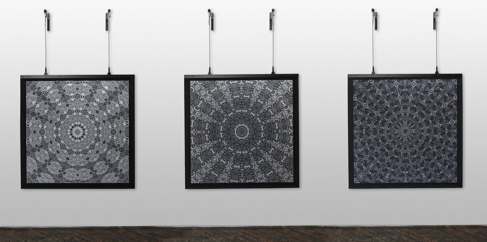 """Radials 1, 2, and 3"", 2014. Hand-cut and digitally printed cotton, aluminum armature, steel cable. Photo by Dan Meyers."