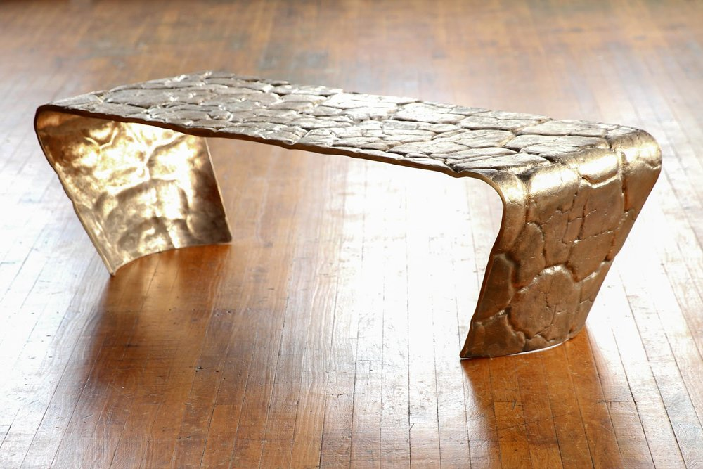 Desert Impressions Bench, 2015, cast bronze made from molds of cracked desert texture during Desert Design Lab project