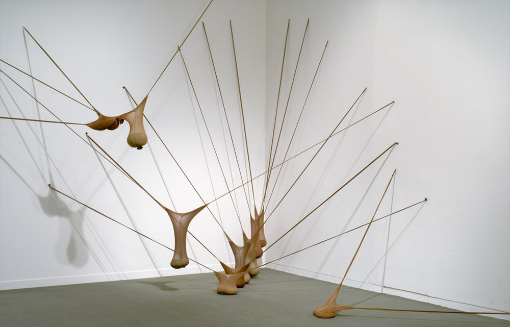 """R.S.V.P. I"", 1977/2003. Nylon mesh and sand. Photo courtesy of the artist."