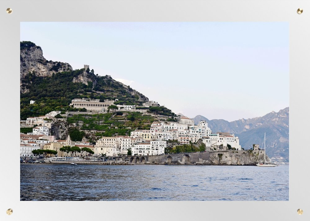 """AMALFI, ITALY NO.4 42"""" X 30"""" ACRYLIC & BRASS $750"""