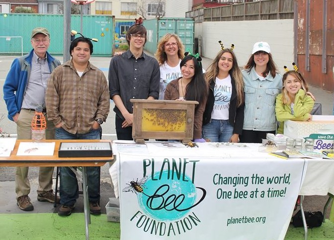 Planet Bee Foundation's table at the Pollinator Fun Fair on September 11th. From left to right: San Francisco State University Professor John Hafernik, Naturalist Chris Quock, Teaching Fellow Shane Garvin, Founder Debra Tomaszewski, Project Manager Joelle Dugay, Intern Nicole Zamignani, new Environmental Educator Ayla Fudala, and Intern Ashley Velasquez