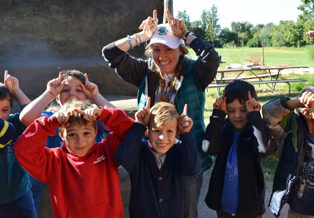 Planet Bee Educator Sarah puts her antennae up with students at Fairfield Elementary