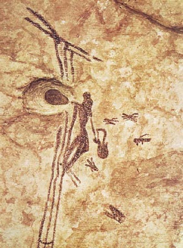 A figure gathers honey from a hive on a cliff face in this 8,000 year old painting discovered in Arana Cave in Spain