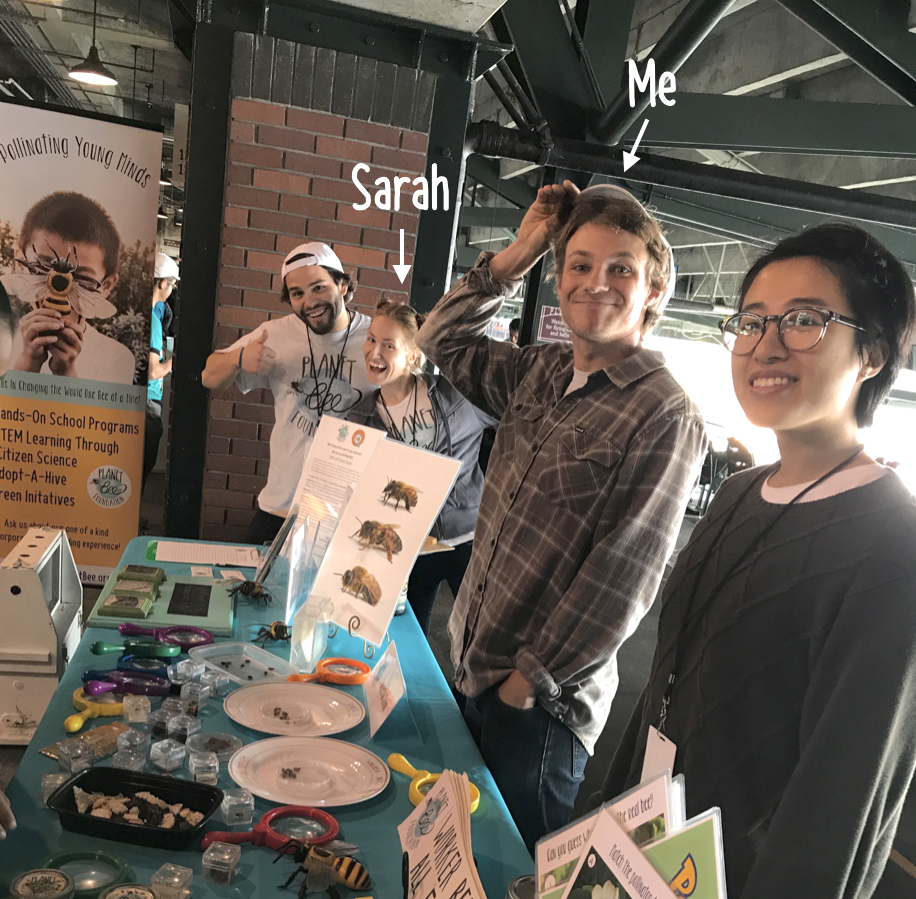 Jordan, Sarah, Zach, and Nancy engaging with the community at  Discovery Day at AT&T Park.