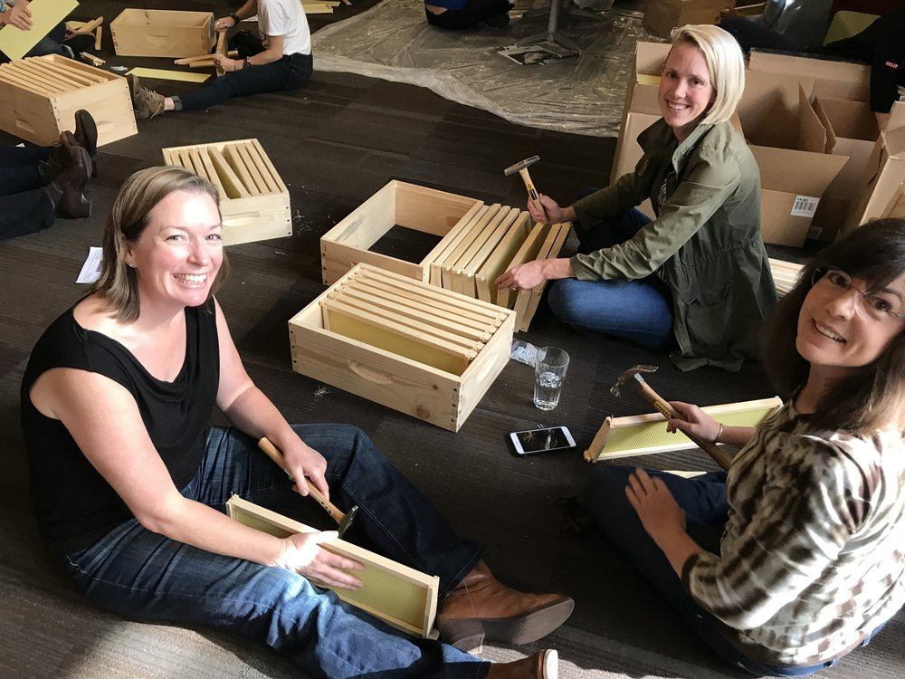 Clif Bar employees work together to assemble bee hives during one of our team-building workshops.