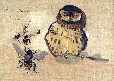 Owl and Bees painting by Jopseph Crawhall III.
