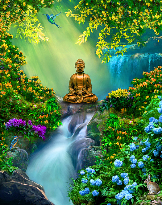 buddha-meditation-paintings-posters-artwork-buddhist-yoga-spiritual-landscape-art-beautiful-peaceful-large-format-canvas-prints-zen-painter-of-light-thomas-kinkade-good-vibes-gallery-goodvibesgallery