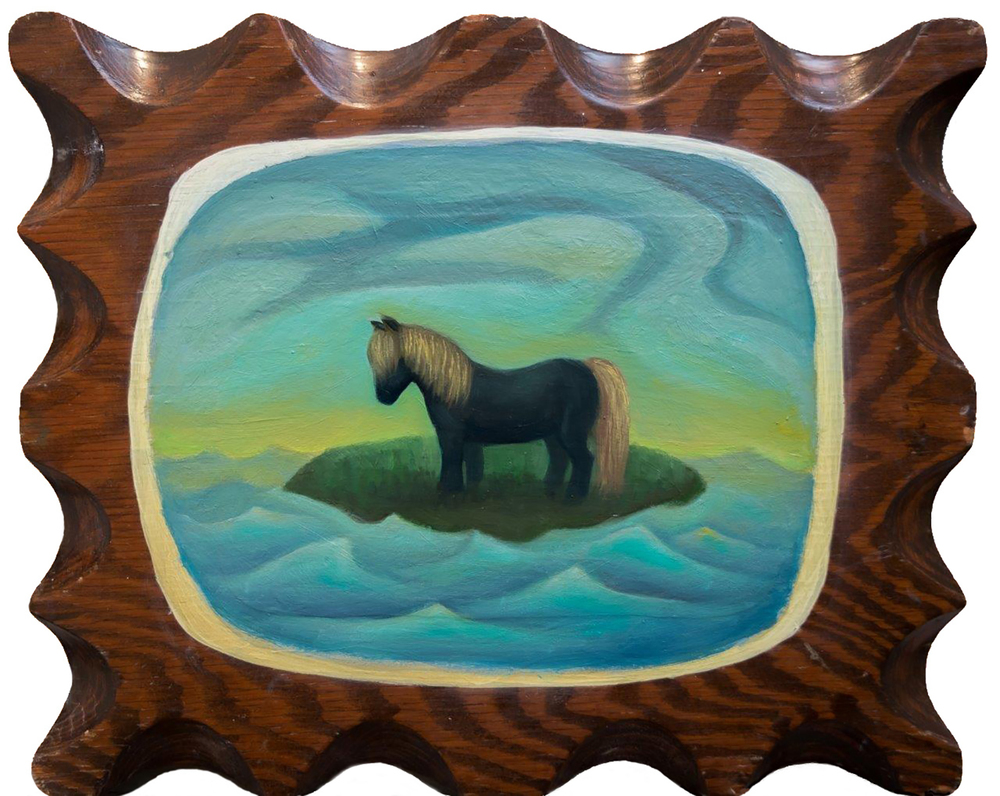 Near Island Pony by Linda Lyons    Oil on thrift store wood frame   Long Lost West     is a group show in which artists were invited to make small works in response to ideas surrounding the miniature, nostalgia, memory and The West, between the size of a belt buckle and a ten-gallon hat.