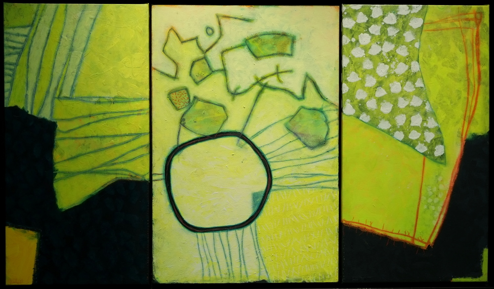 Discourses on the powders of sympathy        (2014-15; acrylic and mixed media on three canvases)