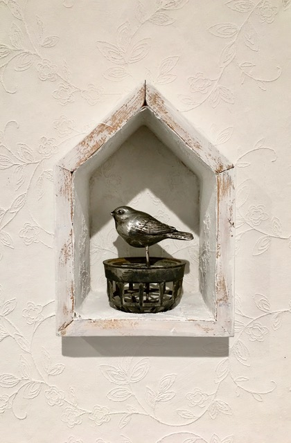 Jannah Atkins,  Songbird Reliquary , mixed media and found object, 2019