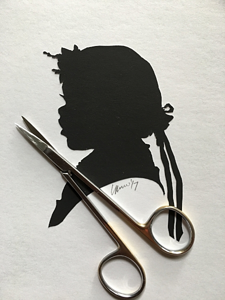 All of  Silhouettes By Hand 's portraits are made in the traditional manner: by hand, with only scissors, without drawing, tracing, or any machine.  Even Mail Order portraits are made in this manner - the only difference is that instead of using a live person to portrait, a photo is used - in the same pose.